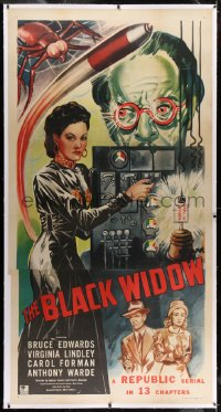 2h007 BLACK WIDOW linen 3sh 1947 Republic serial, different art of evil Carol Forman in laboratory!
