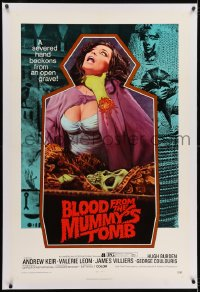 2h046 BLOOD FROM THE MUMMY'S TOMB linen 1sh 1972 Hammer, art of sexy woman strangled by severed hand!