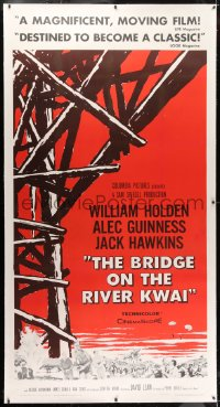 2h009 BRIDGE ON THE RIVER KWAI linen 3sh 1958 William Holden, Alec Guinness, David Lean classic!