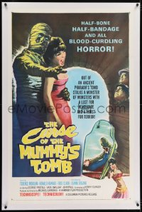 2h074 CURSE OF THE MUMMY'S TOMB linen 1sh 1964 half-bone, half-bandage, all blood-curdling horror!