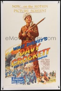 2h081 DAVY CROCKETT, KING OF THE WILD FRONTIER linen 1sh 1955 Disney, classic art of Fess Parker!