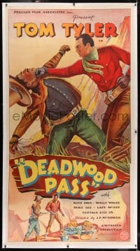 2h010 DEADWOOD PASS linen 3sh 1933 full-length art of cowboy Tom Tyler punching bad guy, very rare!