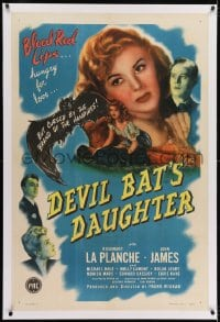 2h087 DEVIL BAT'S DAUGHTER linen 1sh 1946 Rosemary La Planche, blood red lips hungry for love!