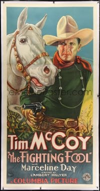 2h011 FIGHTING FOOL linen 3sh 1932 incredible art of Tim McCoy with smoking gun & horse, ultra rare!