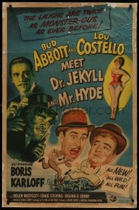 2h023 ABBOTT & COSTELLO MEET DR. JEKYLL & MR. HYDE linen 1sh 1953 Bud & Lou, scary Boris Karloff!