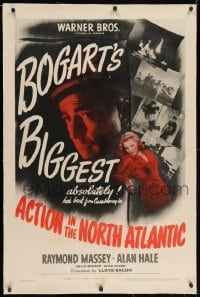 2h024 ACTION IN THE NORTH ATLANTIC linen 1sh 1943 great c/u of Humphrey Bogart + sexy Julie Bishop!