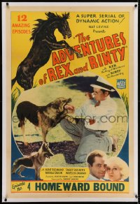 2h025 ADVENTURES OF REX & RINTY linen chapter 4 1sh 1935 horse & snarling German Shepherd dog, rare!