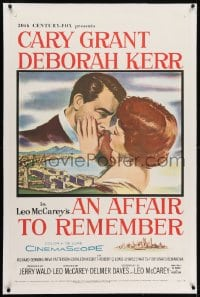 2h027 AFFAIR TO REMEMBER linen 1sh 1957 romantic c/u art of Cary Grant about to kiss Deborah Kerr!