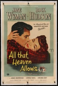 2h028 ALL THAT HEAVEN ALLOWS linen 1sh 1955 close up romantic art of Rock Hudson kissing Jane Wyman!