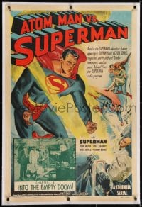 2h031 ATOM MAN VS SUPERMAN linen chapter 8 1sh 1950 Kirk Alyn in costume in BOTH art & inset photo!