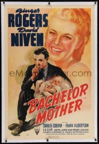 2h034 BACHELOR MOTHER linen 1sh 1939 David Niven thinks the baby Ginger Rogers found is really hers!