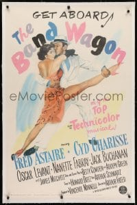 2h036 BAND WAGON linen 1sh 1953 great image of Fred Astaire & sexy Cyd Charisse showing her legs!