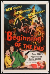 2h037 BEGINNING OF THE END linen 1sh 1957 Peter Graves & Peggie Castle, giant grasshopper sci-fi!