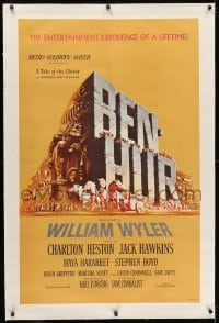2h038 BEN-HUR linen 1sh 1960 Charlton Heston, William Wyler classic epic, cool chariot & title art!