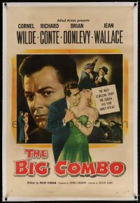 2h040 BIG COMBO linen 1sh 1955 art of Cornel Wilde & sexy Jean Wallace, classic film noir!