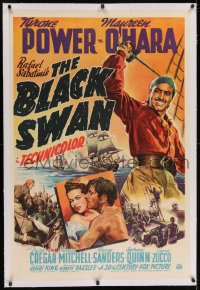 2h042 BLACK SWAN linen 1sh 1942 art of swashbuckler Tyrone Power & Maureen O'Hara, very rare!