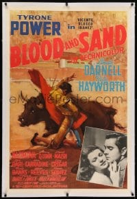 2h045 BLOOD & SAND linen style B 1sh 1941 Ruano-Llopis art, Tyrone Power, Rita Hayworth, very rare!