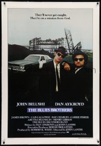 2h049 BLUES BROTHERS linen int'l 1sh 1980 John Belushi & Dan Aykroyd are on a mission from God!