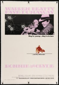2h050 BONNIE & CLYDE linen 1sh 1967 notorious crime duo Warren Beatty & Faye Dunaway, Arthur Penn!
