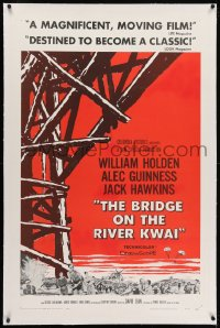 2h052 BRIDGE ON THE RIVER KWAI linen 1sh 1958 William Holden, Alec Guinness, David Lean classic!