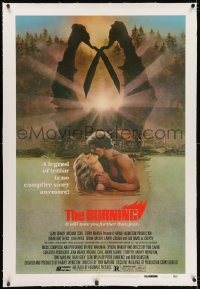 2h053 BURNING linen 1sh 1981 Weinstein, a legend of terror is no campfire story anymore, great art!