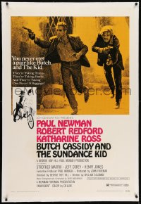 2h054 BUTCH CASSIDY & THE SUNDANCE KID linen style B 1sh 1969 Paul Newman, Robert Redford, Ross!