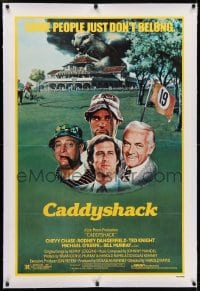 2h055 CADDYSHACK linen 1sh 1980 Chevy Chase, Bill Murray, Rodney Dangerfield, golf comedy classic!