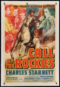 2h056 CALL OF THE ROCKIES linen 1sh 1938 art of Charles Starrett, a song-streaked sagebrush sockeroo!