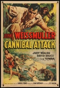2h057 CANNIBAL ATTACK linen 1sh 1954 Cravath art of Johnny Weissmuller w/knife, fighting alligators!