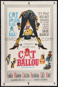 2h062 CAT BALLOU linen 1sh 1965 classic sexy cowgirl Jane Fonda, Lee Marvin, great artwork!