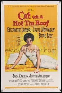 2h063 CAT ON A HOT TIN ROOF linen 1sh 1958 classic artwork of Elizabeth Taylor as Maggie the Cat!