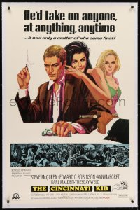 2h065 CINCINNATI KID linen 1sh 1965 pro poker player Steve McQueen & sexy Tuesday Weld, Ann-Margret!