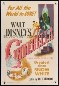 2h066 CINDERELLA linen style A 1sh 1950 Walt Disney classic romantic musical fantasy cartoon!