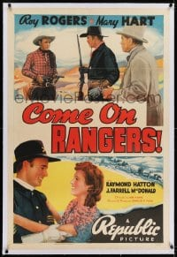 2h068 COME ON RANGERS linen 1sh 1938 art of Roy Rogers pointing two guns at bad guys!