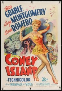 2h069 CONEY ISLAND linen 1sh 1943 art of sexy dancer Betty Grable, Cesar Romero & George Montgomery!