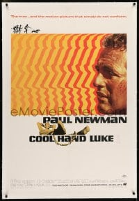 2h070 COOL HAND LUKE linen 1sh 1967 Paul Newman prison escape classic, cool art by James Bama!