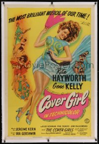 2h071 COVER GIRL linen 1sh 1944 sexy full-length Rita Hayworth with flowing red hair, ultra rare!