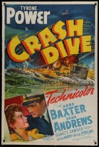 2h072 CRASH DIVE linen 1sh 1943 art of Tyrone Power & Anne Baxter + burning submarine!