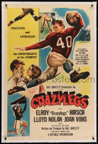2h073 CRAZYLEGS linen 1sh 1953 art of football star Elroy Crazylegs Hirsch & Lovelylegs Joan Vohs!