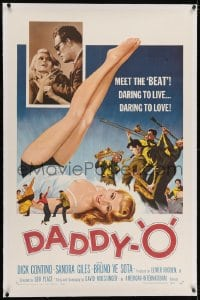 2h075 DADDY-O linen 1sh 1959 great art of sexy girl beatnik & band, daring to live, daring to love!