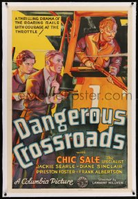 2h077 DANGEROUS CROSSROADS linen 1sh 1933 great art of couple riding train driven by Chic Sale, rare!
