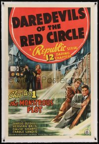 2h078 DAREDEVILS OF THE RED CIRCLE linen chapter 1 1sh 1939 The Monstrous Plot, serial, very rare!