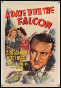 2h080 DATE WITH THE FALCON linen 1sh 1941 art of detective George Sanders & Barrie + shooting gun!