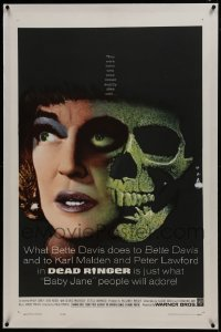 2h082 DEAD RINGER linen 1sh 1964 creepy close up of skull & Bette Davis, who kills her own twin!