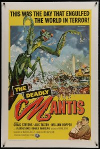 2h083 DEADLY MANTIS linen 1sh 1957 classic art of giant insect by Washington Monument by Ken Sawyer!