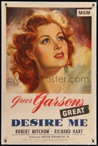 2h086 DESIRE ME linen 1sh 1947 wonderful art of Greer Garson, who survived Nazi prison camp in WWII!