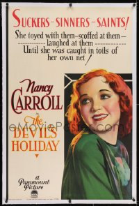 2h089 DEVIL'S HOLIDAY linen B 1sh 1930 golddigger Nancy Carroll seduces farmers for money, very rare