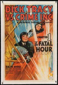 2h090 DICK TRACY VS. CRIME INC. linen chapter 1 1sh 1941 art of Byrd in plane, serial, Fatal Hour!