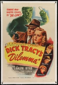 2h091 DICK TRACY'S DILEMMA linen 1sh 1947 art of Ralph Byrd vs The Claw, Sightless, & Vitamin!