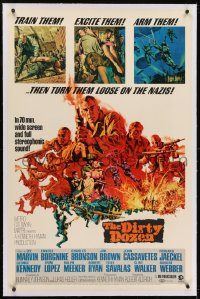 2h092 DIRTY DOZEN linen 70mm widescreen 1sh 1967 Bronson, Brown, Marvin, cool Frank McCarthy art!